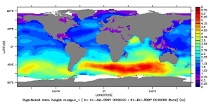 Significant wave height in July 2007(Credits CNES/CLS)