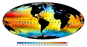 Mean dynamic topography, i.e. oceanic relief corresponding to permanent ocean circulation. Arrows are proportional to current speed. Credits CLS